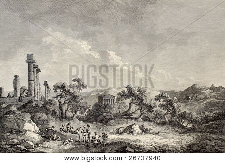🔥 Old view of Valley of the Temples, Sicily  Created by