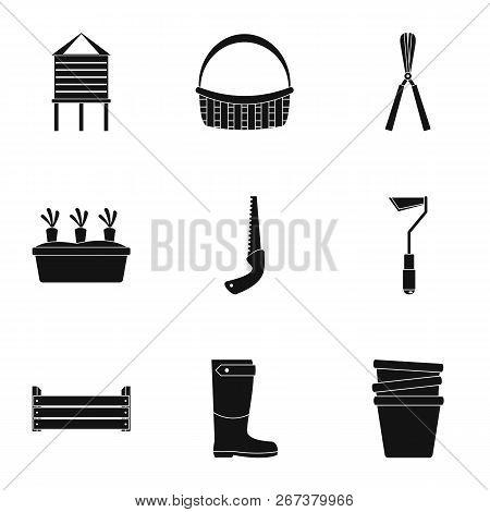 Village tool icon set. Simple set of 9 village tool icons for web design on white background stock photo