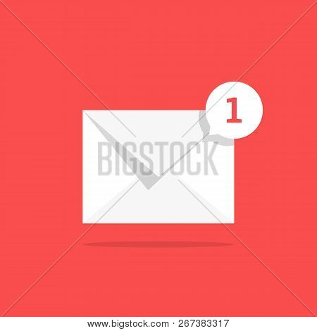 white notification 1 email icon with speech bubble. concept of online talk or speak by messages or full mail box like correspondence. trend simple ui logotype graphic design isolated on red background stock photo