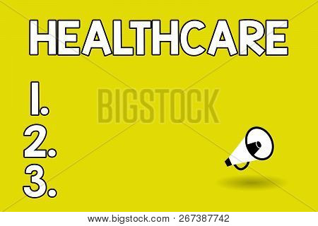 Word writing text Healthcare. Business concept for The provision of medical care to individuals Improve wellbeing stock photo