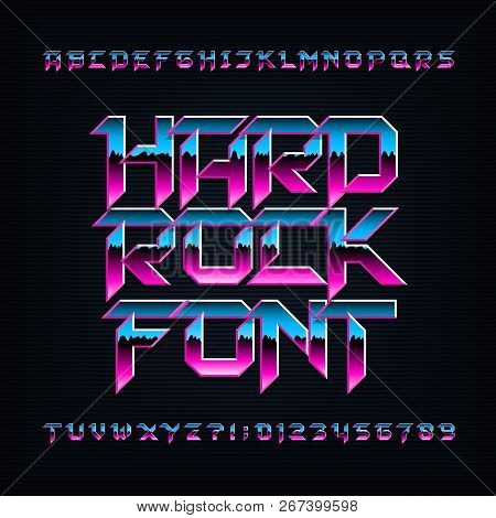 Hard rock alphabet font. Metallic beveled colorful letters, numbers and symbols. Stock vector typescript for your typography design. stock photo