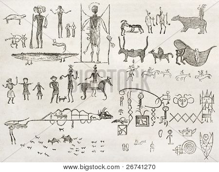 Hieroglyphics found in a cave near Fossil Creek, Arizona. By Lancelot and Gauchard after report made under the direction of the U.S. secretary of the war. Published on Le Tour du Monde, Paris, 1860 stock photo