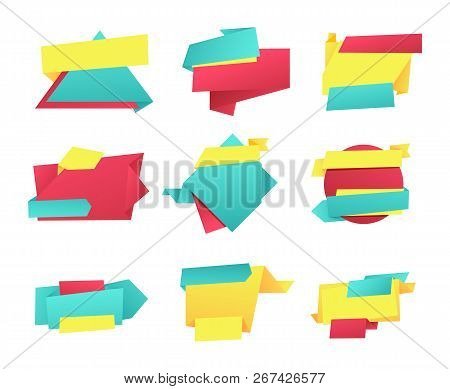 Special offer empty banners, vector advertising sample. Geometric paper ribbons, swirl and curved strings and sign collection, irregular form style elements stock photo