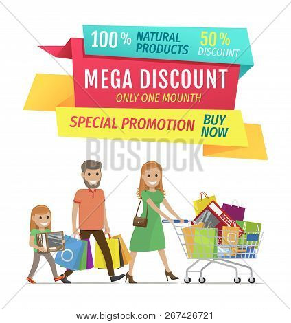 Mega discount for natural products to buy now vector banner. Special promotion for customers. Smiling family with shopping bags in trolley and hands. stock photo