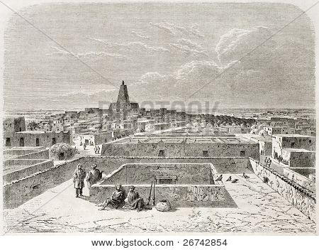 Timbuktu, old view. Created by Lancelot after Barth, published on Le Tour du Monde, Paris, 1860 stock photo