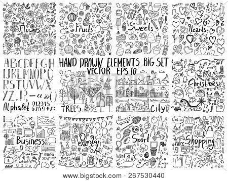 Big Collection Of Hand Drawn Elements. Doodle Flowers, Food, Holidays, Business, Sport And Other Cre