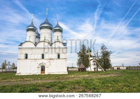 Snow-white Church of the Resurrection of Christ in the village of Vyatka, Yaroslavl Region, Russia. stock photo