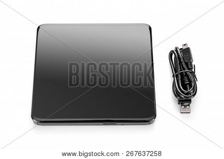 External modern drive CD-rom USB isolated on a white background. stock photo