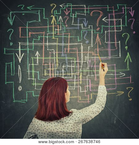 Rear view of a young businesswoman drawing different colorful arrows try to solve a questions maze and find the answer. Problem analysis solution concept. stock photo