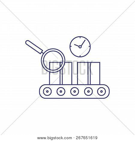 Parcel control line icon. Cardboard boxes on conveyor belt, parcel tracking, quality control. Distribution concept. Vector can be used for topics like delivery, shipping, manufacturing production stock photo