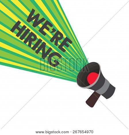 Conceptual hand writing showing We re are hiring. Business photo text Job vacancy Manpower polling Recruiting Available position stock photo