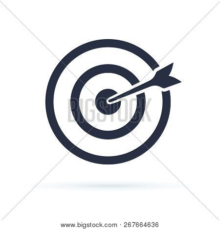 Target Icon Vector. Target With An Arrow Flat Icon Concept Market Goal Vector Picture Image. Concept
