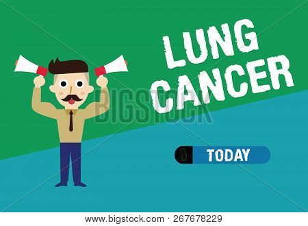 Handwriting text writing Lung Cancer. Concept meaning Uncontrolled growth of abnormal cells that start in the lungs stock photo