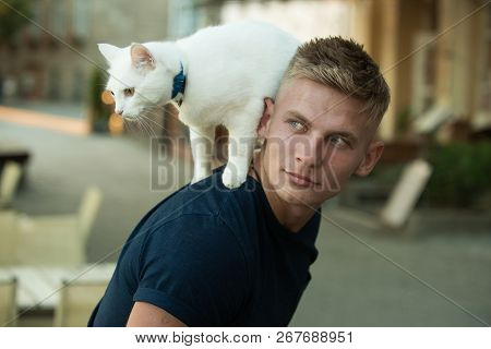 Curious Explorer. Happy Man On Walk With Cat Pet. Muscular Man Hold Cute Pedigree Cat. Happy Cat Own