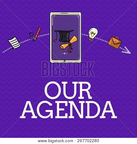 Handwriting text Our Agenda. Concept meaning Personal schedule reminders method process timetable organizing stock photo