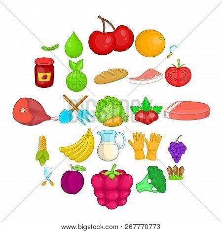 Plantation icons set. Cartoon set of 25 plantation vector icons for web isolated on white background stock photo