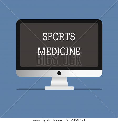 Word writing text Sports Medicine. Business concept for Treatment and prevention of injuries related to sports stock photo