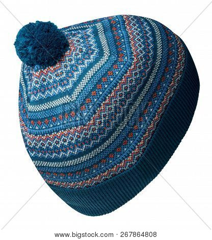 knitted hat isolated on white background.hat with pompon . stock photo