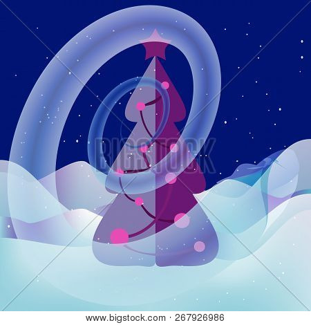 New Year Eve. A magical snowy whirlwind swirls around the Christmas tree with garlands. Snowflakes are falling. Fairy light illuminates the snowdrifts. Xmas tree, starry night, snow, snowdrifts. stock photo