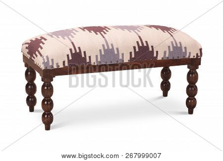 Banquette, bench with upholstered seat without a back. Modern designer, banquette isolated on white background. Series of furniture. stock photo