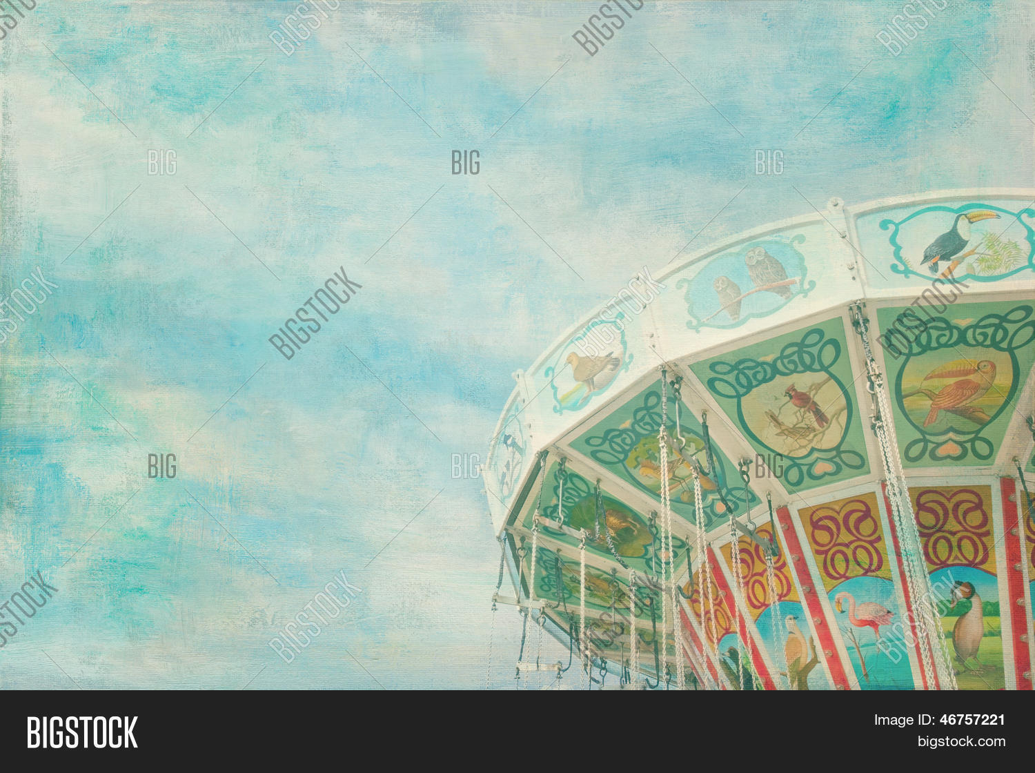 🔥 Closeup Of A Colorful Carousel With Painterly Textured Editing