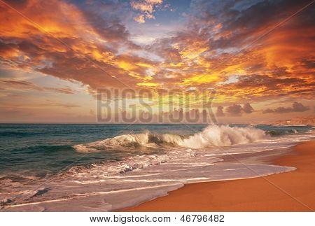 Coucher de soleil de mer