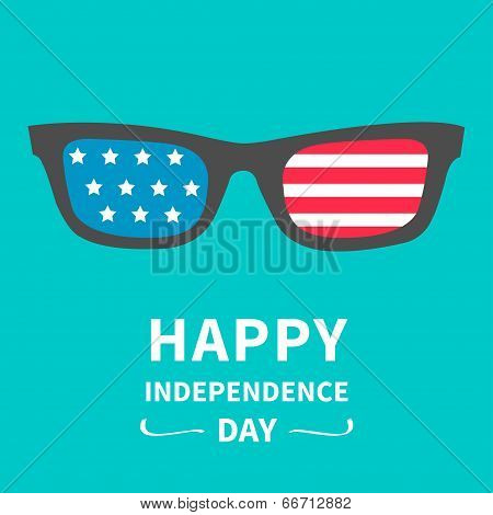 Glasses with stars and strips. Happy independence day United states of America. 4th of July.