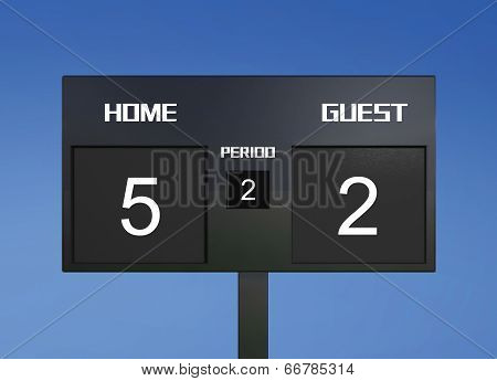 soccer match scoreboard display the goal result stock photo