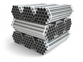 Metal channels. Steel industry . Three-dimensional picture, 3d