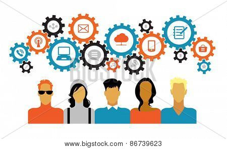 Icons of people with gears and interface icons technology, social media. concept of people communica
