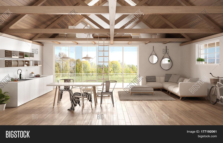 Minimalist Mezzanine Loft Kitchen Living And Bedroom Wooden Roofing And Parquet Floor Scandinavi 177192061 Image Stock Photo