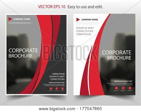 Red curve Vector Brochure annual report Leaflet Flyer template design book cover layout design abstract business presentation template a4 size design