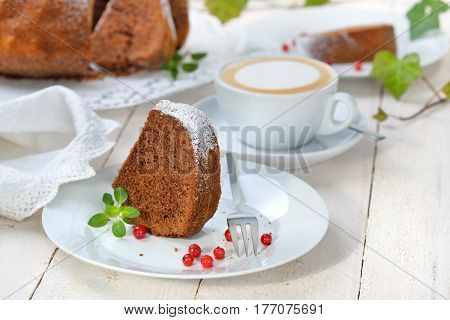Freshly baked ring-shaped cake with chocolate, so called 'Gugelhupf' in Austria and Germany, served with a cup of cappuccino stock photo