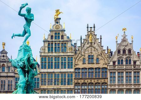 Close up Barbo fountain and guild houses at Grote Markt square in Antwerp Belgium