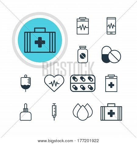 Vector Illustration Of 12 Health Icons. Editable Pack Of Antibiotic, Trickle, Medicament Pitcher And Other Elements. stock photo