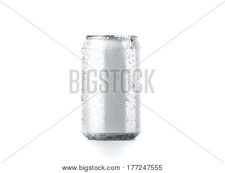 Blank cold aluminium beer can mockup with drops 330 ml 3d rendering. Empty fresh soda tin packing mock up with condensate isolated on white. Canned dripping drink template. Cool fizzy pop package. stock photo
