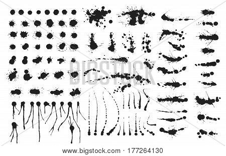 Vector set of ink splashes blots splatter collection grunge design black white and art messy backdrop color dirty liquid spatter graphic silhouette illustration. Artistic dot dirt pattern spatter.