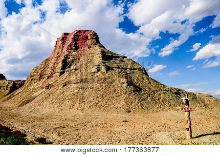 devil city located in China's xinjiang , this area are the characteristic of Yardang landform. Strong wind like crying sound,so also is known as the devil city. stock photo