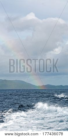The Rainbow From  Ocean And Island In Background-Lg Fridge Magnet Skin (size 36x65)
