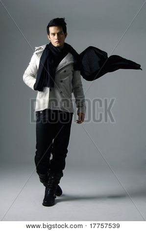Asian male model posing shot in studio stock photo