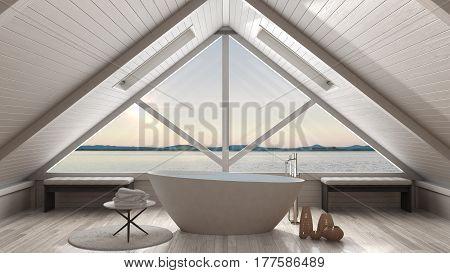 Classic mezzanine loft with big window and sea panorama, bathroom, summer sunset or sunrise, minimalist scandinavian interior design, 3d illustration stock photo