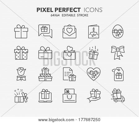 Set of gifts and presents thin line icons. Contains icons as gift card buy presents testimonials surprise gift and more. Editable vector stroke. 64x64 Pixel Perfect. stock photo