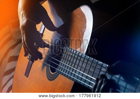 Old, Woman, Man  Playing Electric, Acoustic Guitar, Black Background, Fun, Lifestyle,
