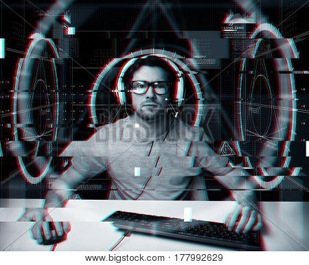 technology, cyberspace, programming and people concept - hacker man in headset and eyeglasses with pc computer keyboard over virtual projections over glitch effect stock photo