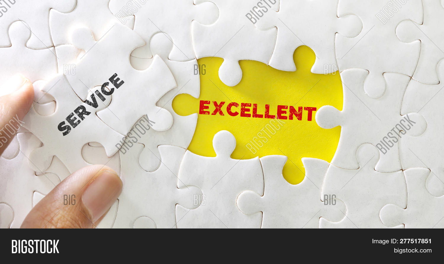 Close Up Piece Of White Jigsaw Puzzle With Word Of Service Excellent , Concept Of Customer Service O