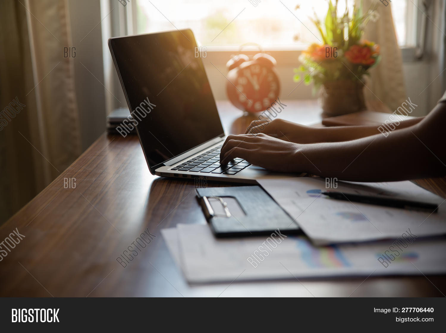 Business And Finance Concept.financial Adviser Planning And Working On Laptop,business Woman Typing