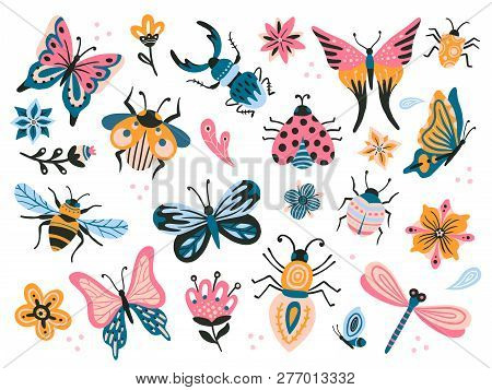 Cute bugs. Child drawing insects, flying butterflies and baby ladybird. Flower butterfly, fly insect and beetle flat vector set stock photo