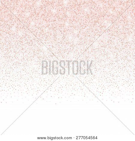 Vector Gold Rose Glitter Confetti Dots Frame. Pink Sparkling Glittering Border Isolated On White Bac