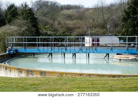 A water treatment tank at the banknote printing works of De La Rue at Overton Mill, Hampshire.  Bank of England notes were first printed here in 1939. stock photo