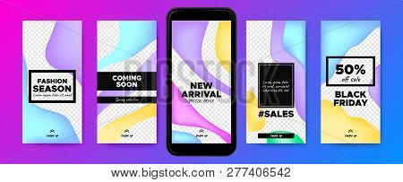 Social Media Frames Templates. Story Design For Photo Or Product Presentation. Promotion Of Discount